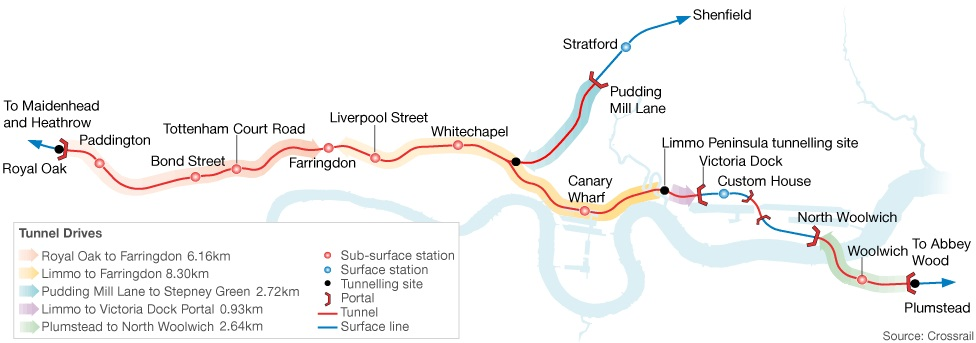 7C-012_Fig 01 _Simplified plan of Crossrail underground stations and tunnel alignment