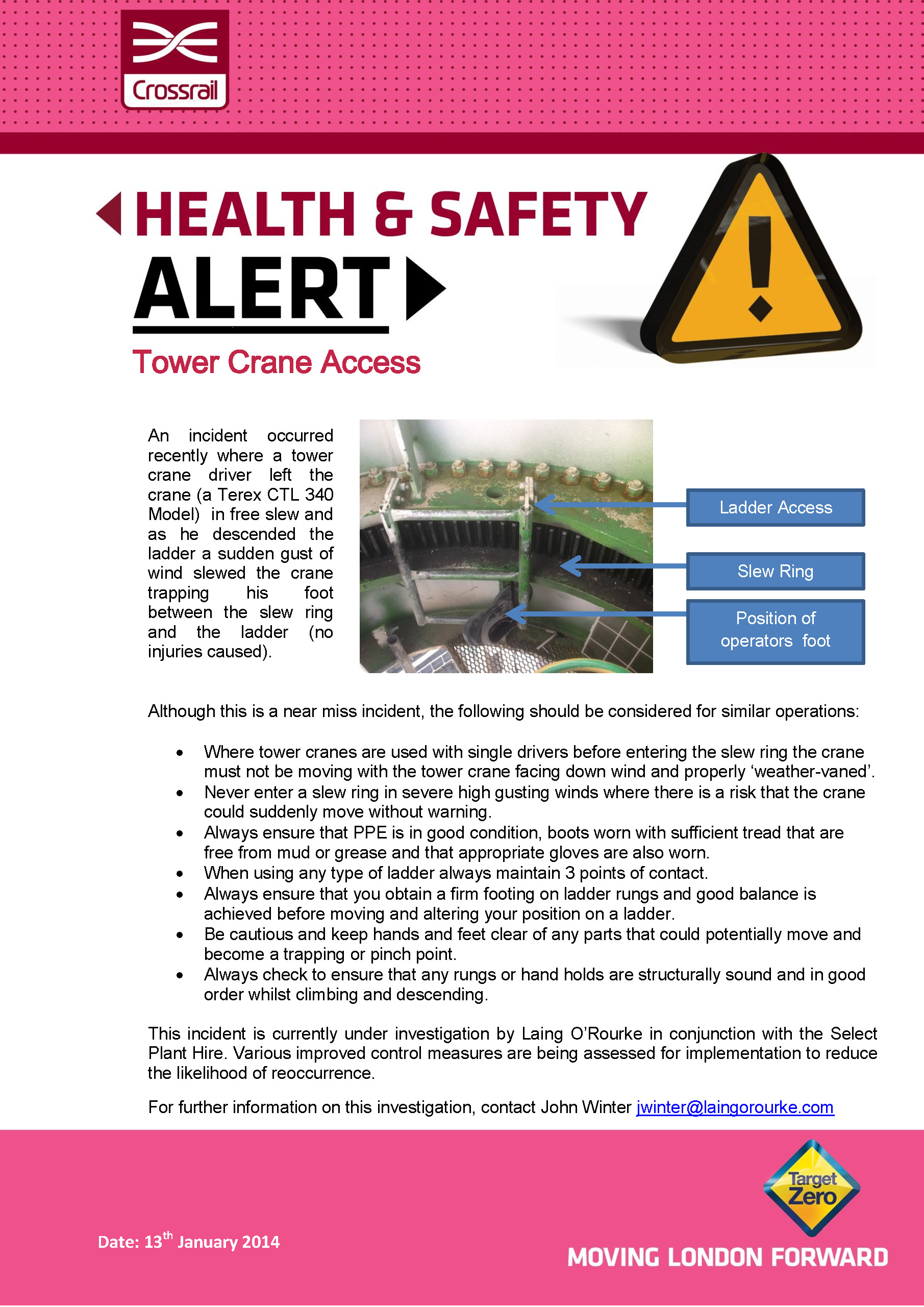 Safety alerts crossrail learning legacy for Incident alert template