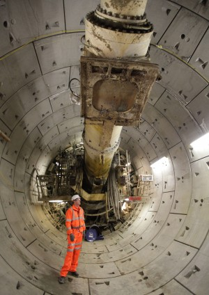 Photo of rear of Tunnel Boring Machine shield and cutter section from within the segmented line tunnel it has constructed
