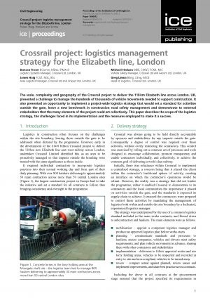 Crossrail project: logistics management strategy for the Elizabeth line, London