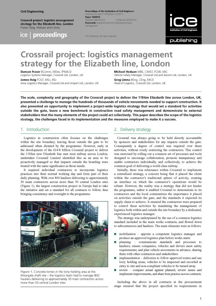 Crossrail project: logistics management strategy for the ...