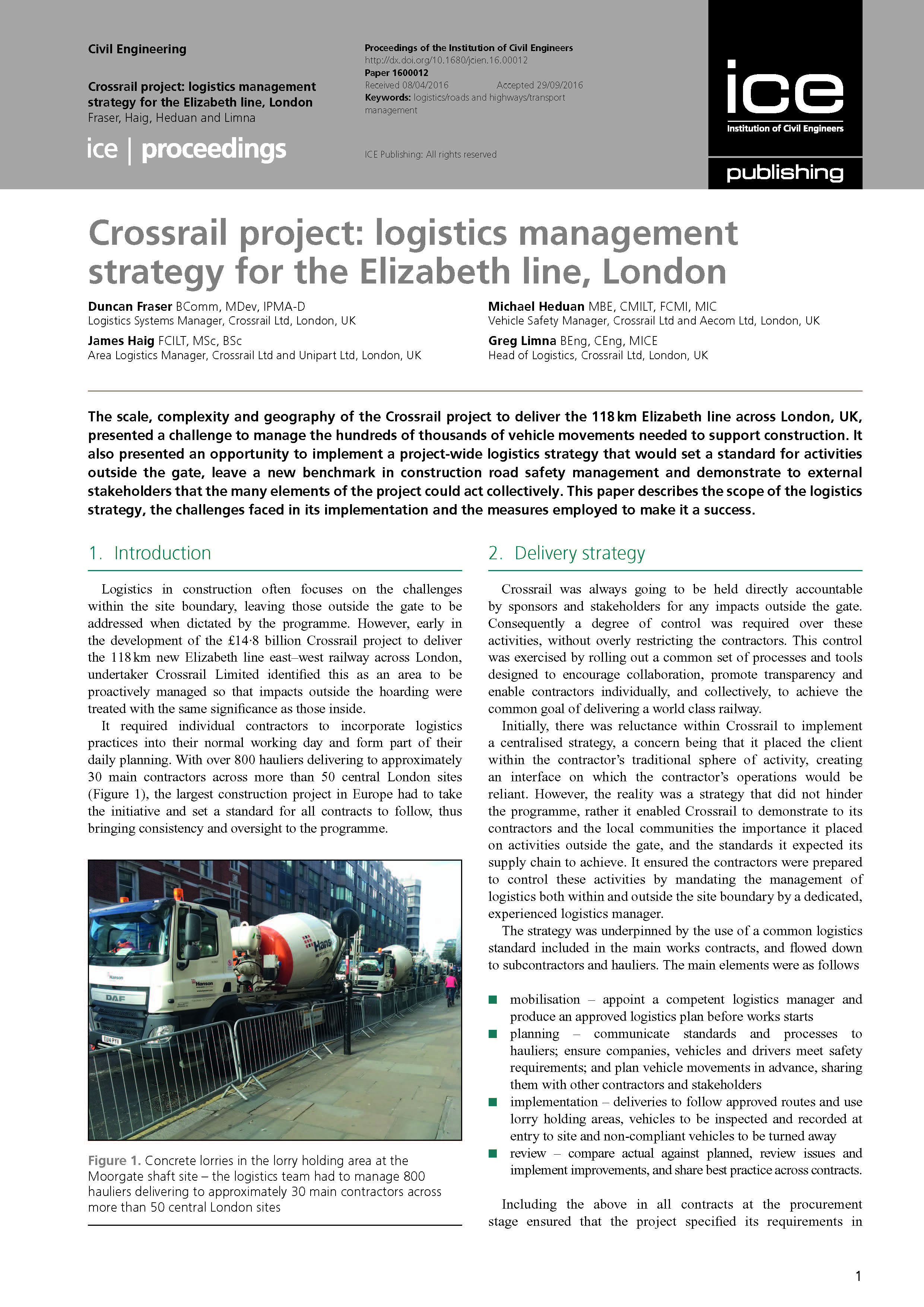 Crossrail project: logistics management strategy for the