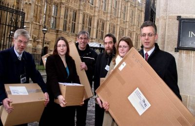 Photo of Crossrail Bill documents being delivered to Clerks of the House