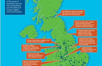Visual of map of UK plotting location of Crossrail suppliers with some example suppliers annotated