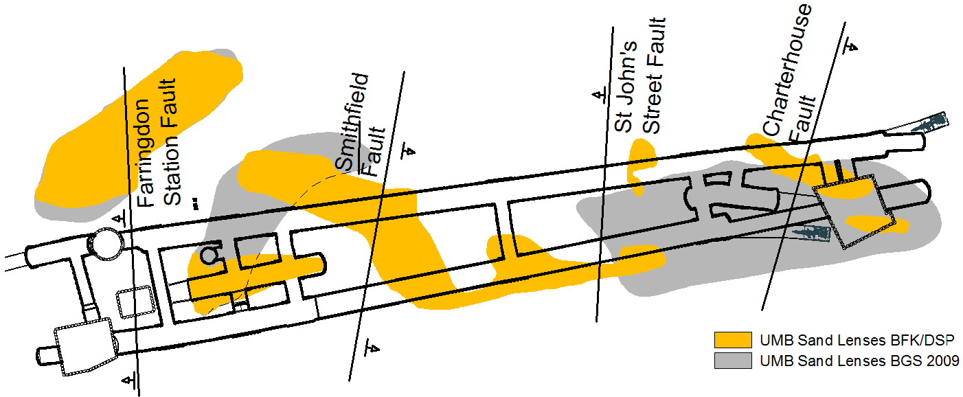 Figure 10 - Plan view of the station showing the projection of the Faults at tunnel axis level and the Sand lenses