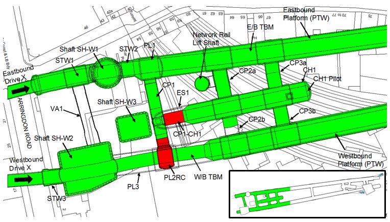 Figure 2 - Plan View of the West part of Farringdon station showing the location of the two temporary SCL structures