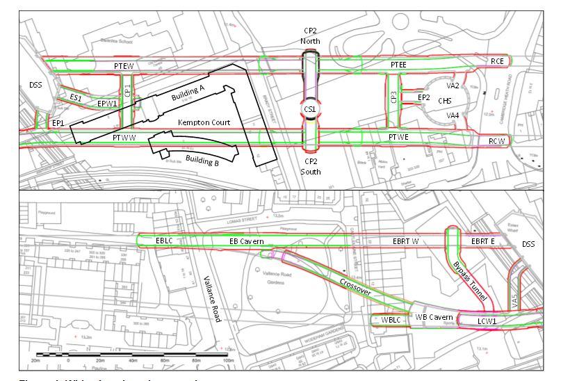 Figure 1 - Whitechapel station tunnels