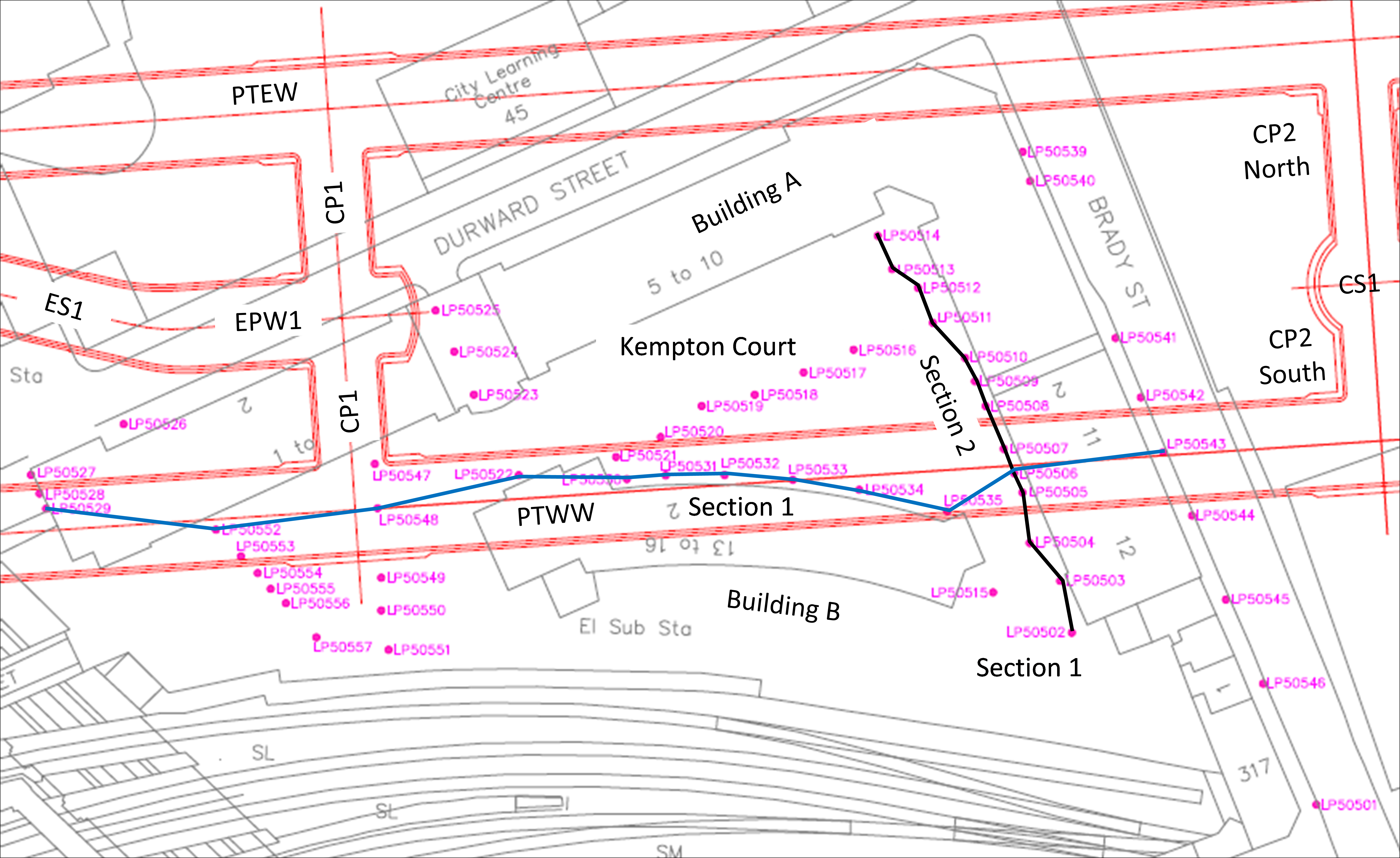 Figure 2 - Location of the transverse section and road studs along the tunnel axis above the Westbound Platform Tunnel