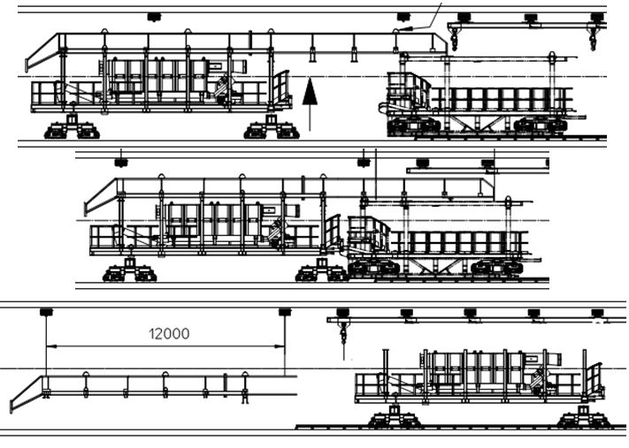 Figure 13. Gantry 1 and bridge dismantling sequence with installation of bogie (top); marriage of gantry 1 and bridge (centre); and dismantling of bridge beams (bottom).