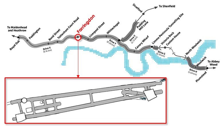 Figure 1. General view of the Crossrail route with focus on Farringdon station