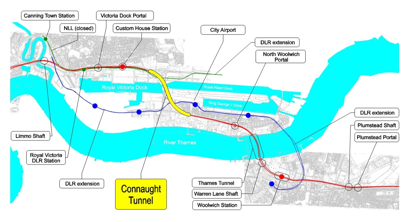 Figure 1. Crossrail South-East Spur and Location of the Connaught Tunnel