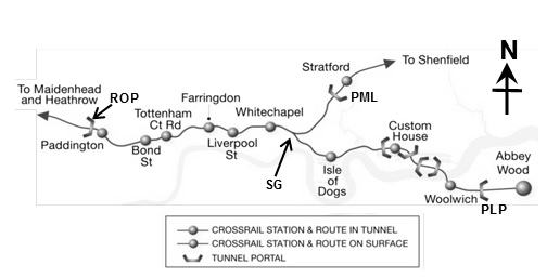 Figure 2. Plan alignment of Crossrail tunnelled section
