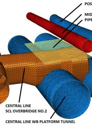 Figure 2. 3D FE model of the Central line SCL overbridge at Tottenham Court Road Station including the existing and new structures