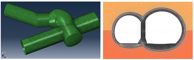 Figure 9. Models for the Independent design check of Crossrail Category 3 SCL structures: 3D FE model of Wraparound detail (left) and 2D model of asymmetrical binocular tunnel (right)