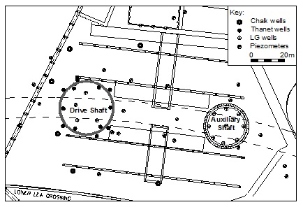 Figure 6. Site layout showing shafts, wells and piezometers.
