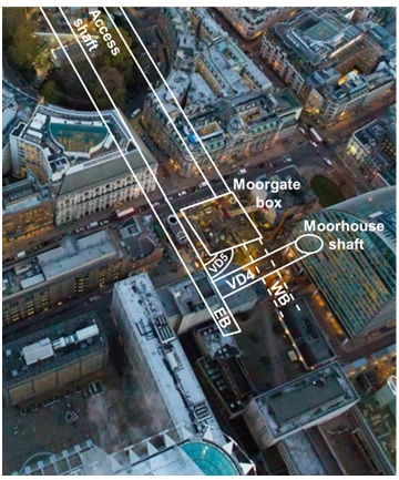 Figure 2. Aerial view showing location of VD4 below. Pedestrian tunnels and cross passages between the Eastbound and Westbound tunnels beyond Moorgate box not included for clarity. (Photograph courtesy of Crossrail)