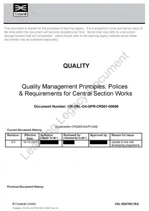 Quality Management Principles, Policies and Requirements