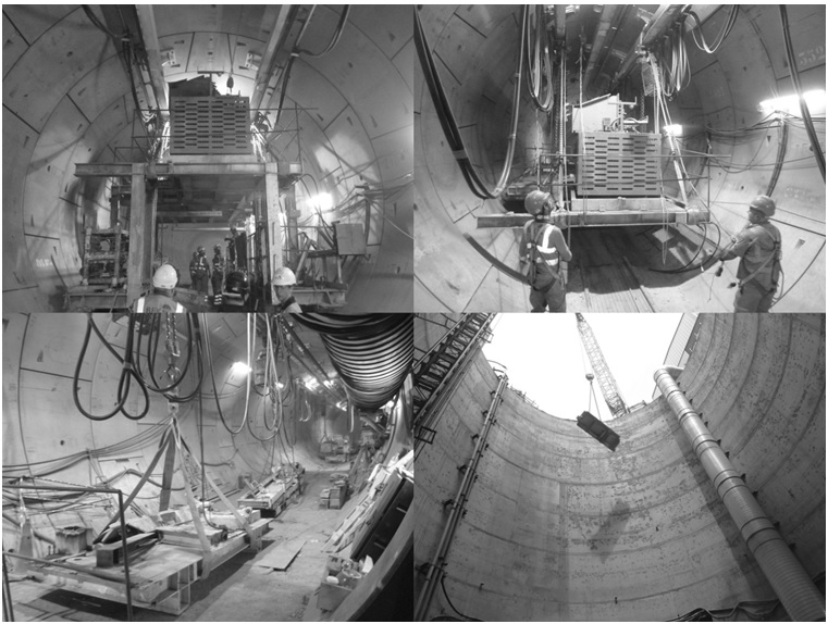 Figure 12. Dismantling of the eastbound TBM backup and removal via the shaft