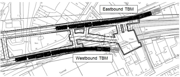 Figure 5. TBM burial locations at Farringdon ETH