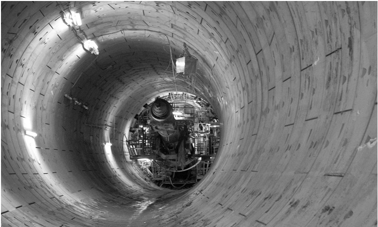 Figure 7. Buried westbound TBM shield prior to backfilling with foam concrete