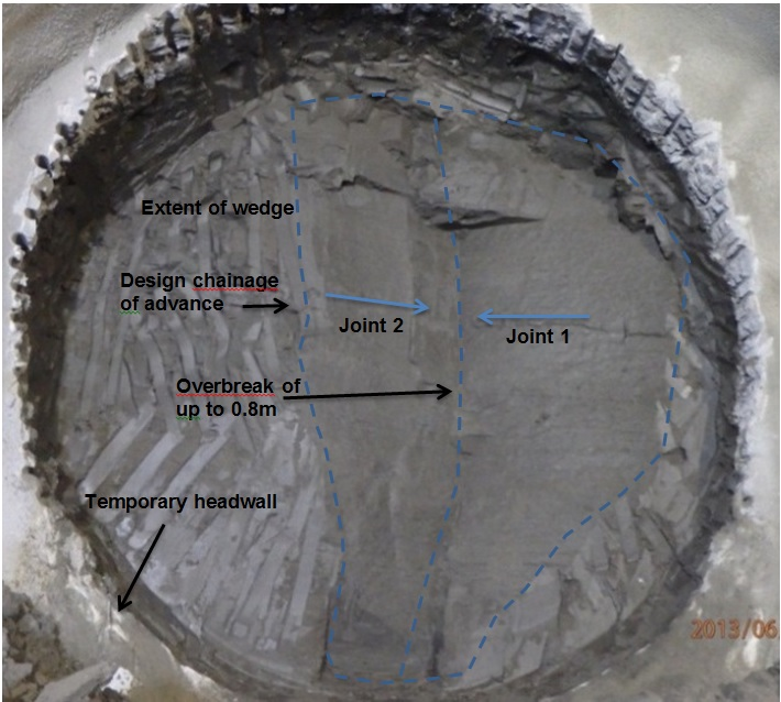 Figure 15: No.4 Exposed joint in pilot tunnel