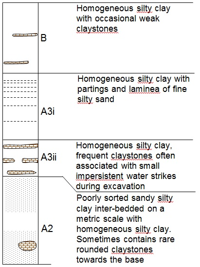 Figure 5: London Clay Formation Stratigraphy (not to scale)