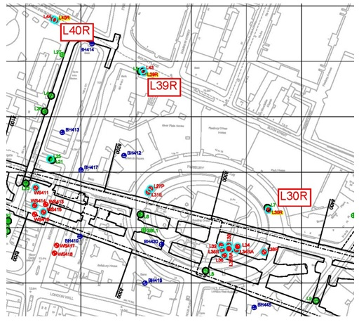 Figure 12: Historical CRL boreholes L40R, L39R and L30R location.