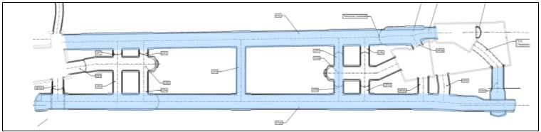 Figure 1: Under the original scheme, more than 500 linear metres of platform cavern (highlighted in blue) would have needed to have been complete prior to TBM arrival, including all the associated temporary works to receive, transit and re-launch the TBMs