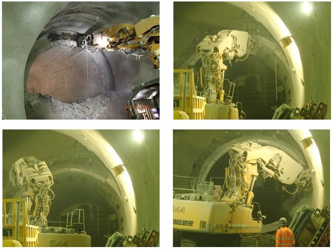 Figure 14: Clockwise from top left; Excavating around the TBM segments; pushing out key segment; crown segments removed; pulling forward remaining segments into the exclusion zone.
