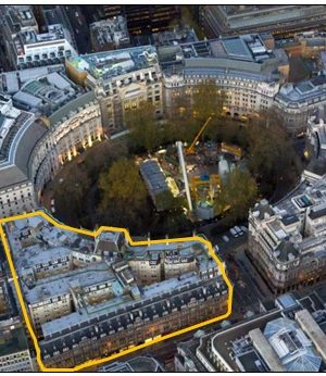 Figure 1. Finsbury Circus aerial view. Salisbury House outlined in orange.