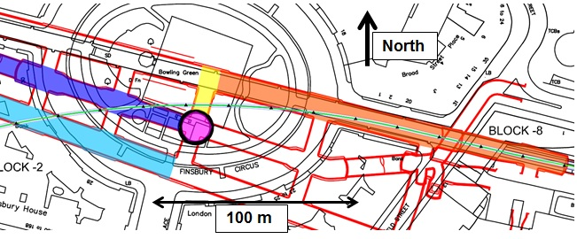 Figure 1. Map of Finsbury Circus, with the overlaid position of C510 works & PO tunnel