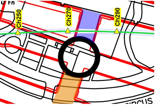 Figure 18. Map of C510 (red) beneath Finsbury Circus (black). Where CP6 (blue) passes beneath the PO tunnel (green). The location of CP5 is also highlighted (orange). Monitoring arrays within the PO tunnel have been highlighted (yellow).
