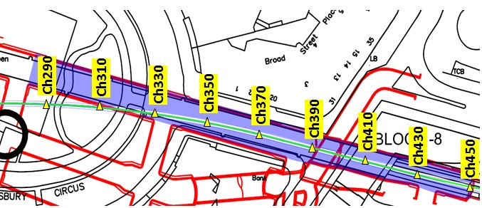 Figure 29. Map of C510 (red) beneath Finsbury Circus (black). Where PTE East (blue) under passes the PO tunnel (green). Monitoring arrays within the PO tunnel have been highlighted (yellow).