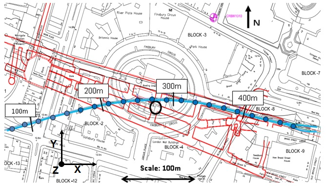 Figure 4. Map of Finsbury Circus, with the overlaid position of C510 works & PO tunnel, with labelled chainages.