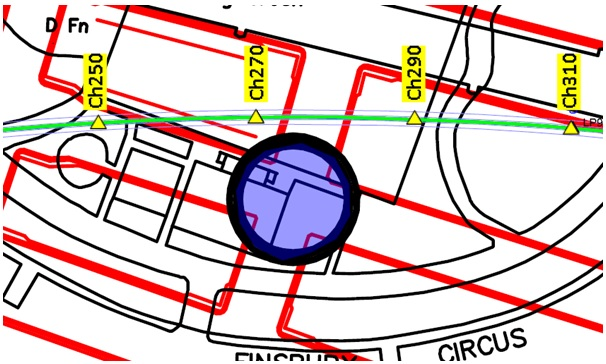Figure 8. Map of C510 beneath Finsbury Circus. Where the position of AS1 is within 3m of the PO tunnel.