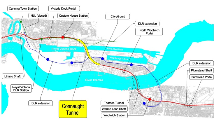 Figure 1 Crossrail South-East Spur and Location of the Connaught Tunnel