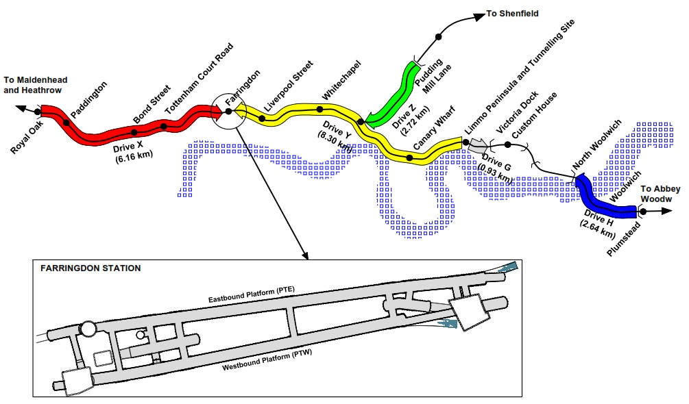 Figure 1 - Crossrail route with focus on Farringdon Station.