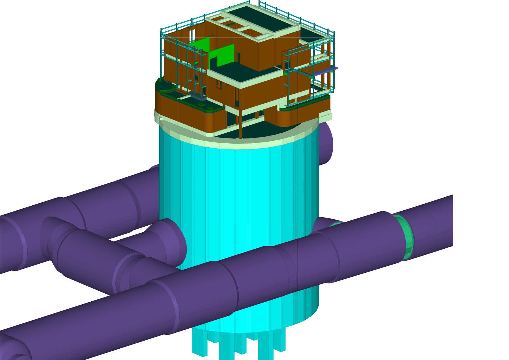 Figure 1 - Cambridge Heath Shaft 3D Model. SCL tunnels in purple