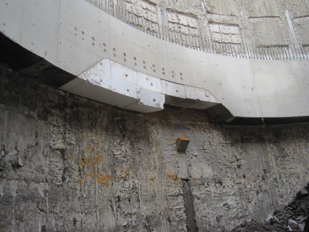 Figure 14 - P28 partially repaired below Upper Ring Beam. The cast projection from the letterbox shutter is yet to be removed. The top of the opening for Tunnel EP2 can also be seen.