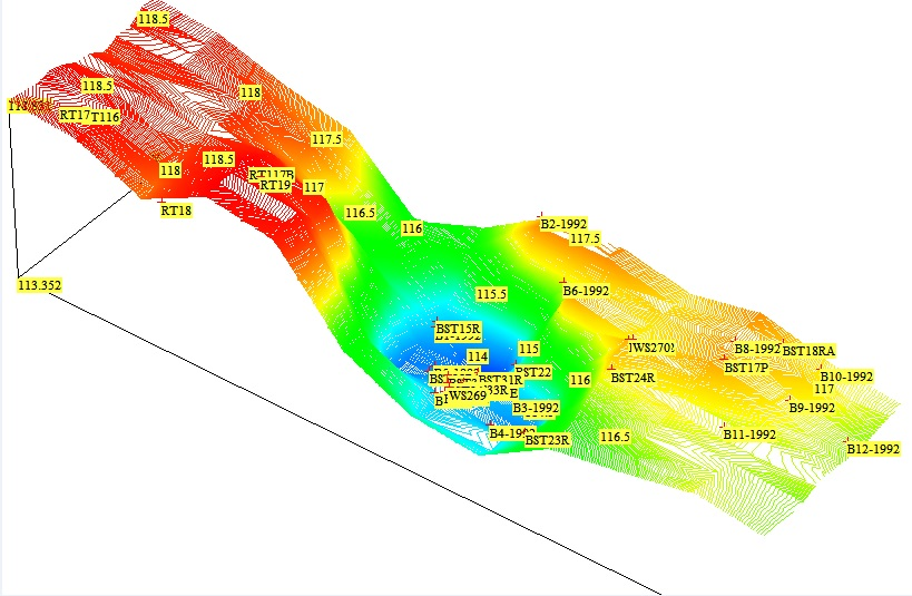 Figure 14 - 3D contour plot of the top of London Clay Formation with the additional boreholes
