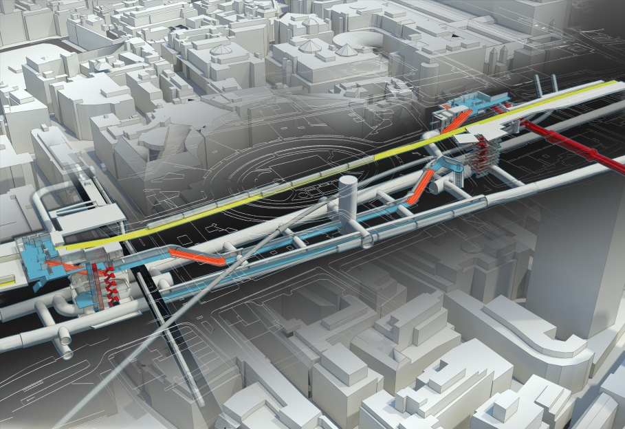 Figure 1 - Liverpool Street Crossrail station – Moorgate shaft is on the left