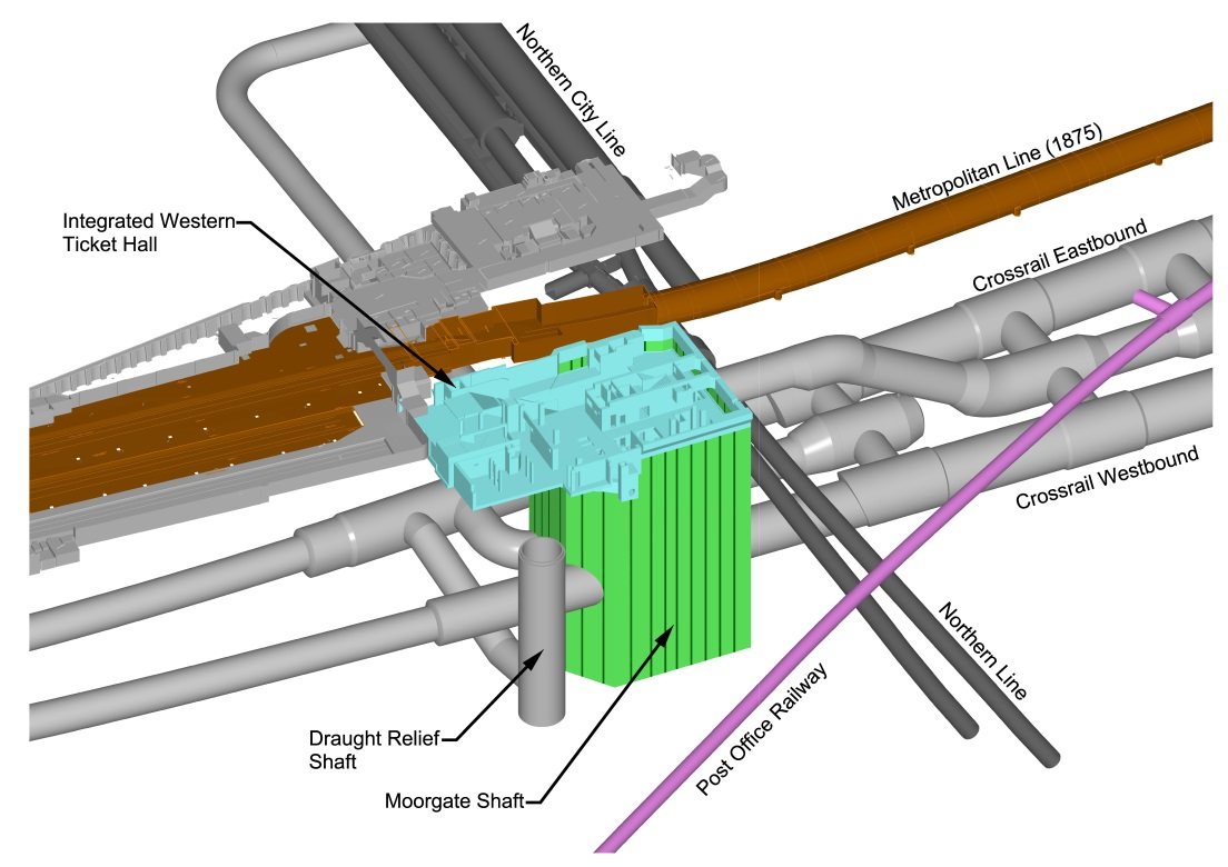 Figure 1 - 3D CAD model of Moorgate shaft and adjacent tunnels