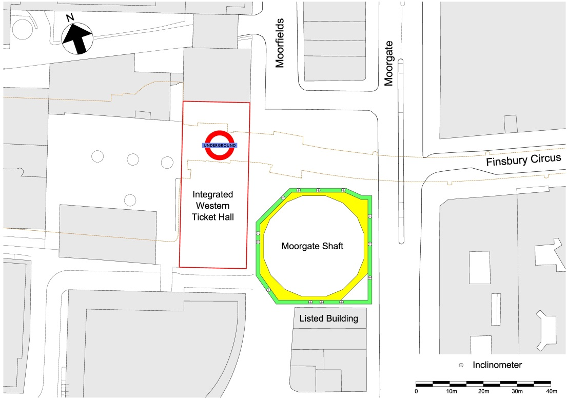 Figure 2 - Moorgate shaft site plan and inclinometer locations