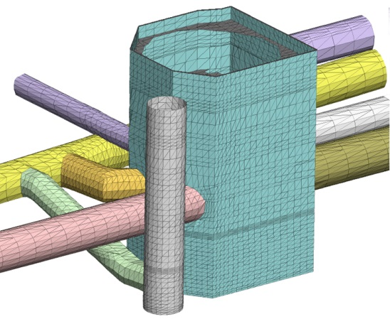 Figure 5 - 3D FLAC model of Moorgate shaft and adjacent tunnels