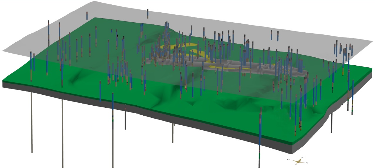 Figure 12 - Closing image: 3D Perspective view of the 2015 model showing all the borehole logs, the tunnels, the capping surface, the Upnor Formation and the underlying Thanet sand unit, as well as the discontinuous sand lenses of the Upper Mottled Clay. This image is intended as an updated version of front cover image of [2].