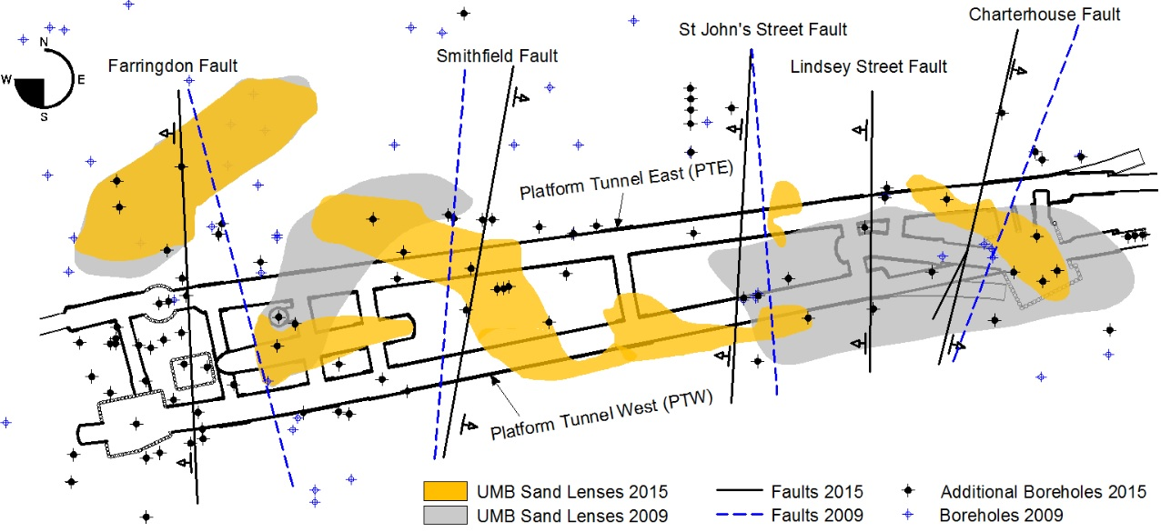 Figure 7 - Plan view of Farringdon Station showing the surface projection of the main faults and the extent of the sand lenses in 2009 and 2015.