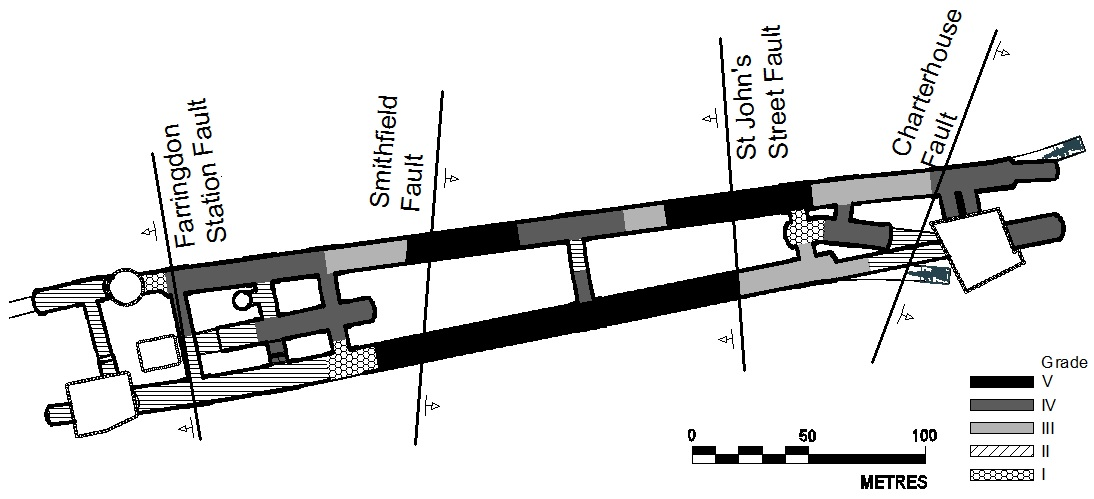 Figure 8 - Geotechnical risk mapping prior to the commencement of the tunnelling works.