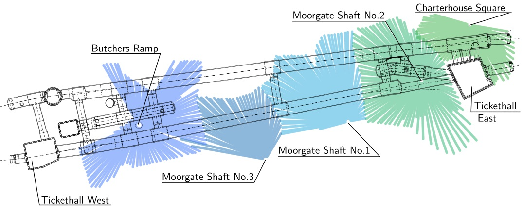 Figure 4 - Compensation grouting coverage at Farringdon station. The location of the grouting shafts as well as the extent of the TAMs are shown.
