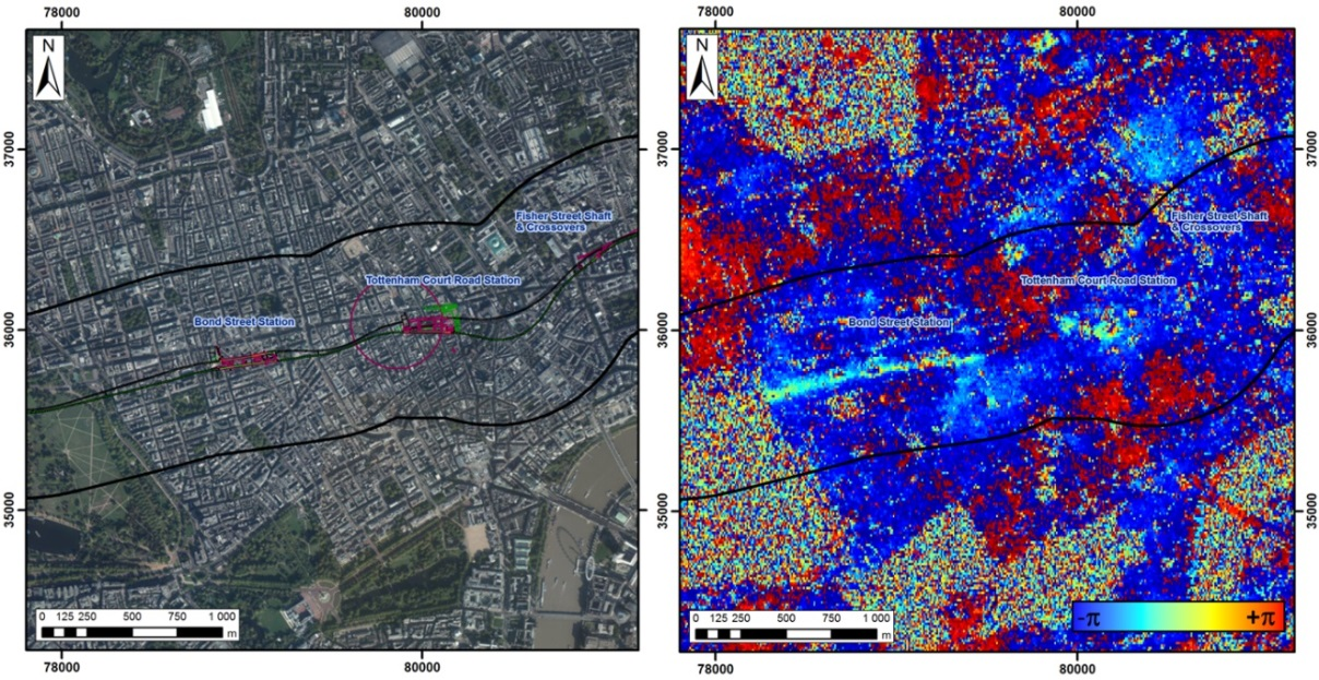 Figure 1 - (a) Aerial orthophoto between High Park and TCR with the track line and stations, (b) Overlayed differential Interferogram between dates 11/08/2012 and 10/05/2013, detecting motion over Crossrail Line.
