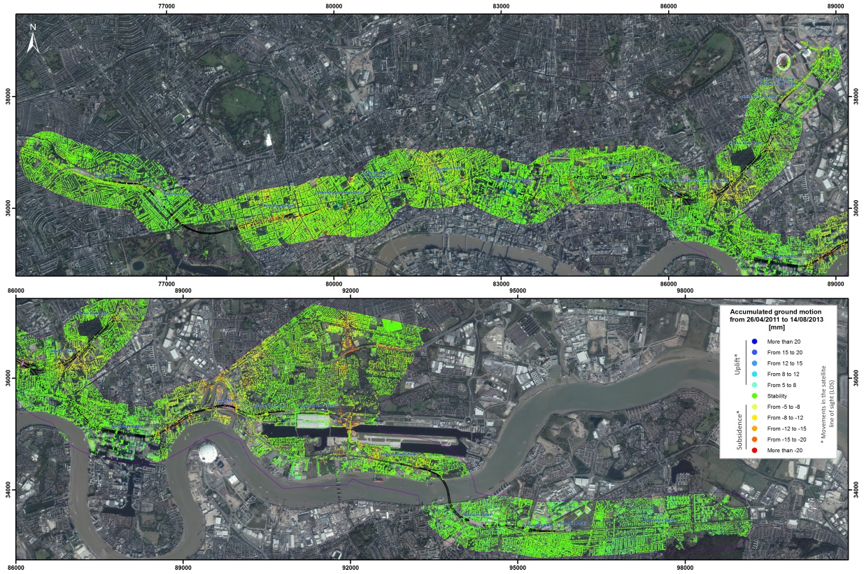 Figure 9 - Accumulated ground motion displacement map for London Crossrail Line.